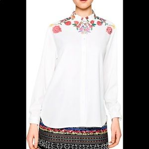 Desigual hi low button down blouse white floral